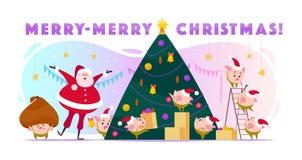Wektorowa płaska ilustracja z Święty Mikołaj śmiechem i 8 małym round świniowatym elfem w Santa kapeluszu dekoruje dużej choinki, ilustracja wektor