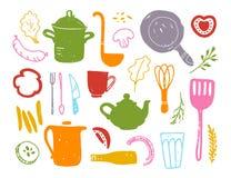 Wektorowa płaska kolekcja kuchenni rzecz przedmioty: niecka, teapot, rozwidlenie, garnek, miarka, filiżanka i niektóre posiłków p ilustracji
