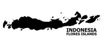 Wektorowa Płaska mapa Indonezja, Flores wyspy z podpisem - ilustracja wektor