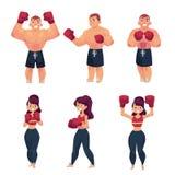 Wektorowa płaska mięśniowa althlete boksera kobieta ilustracji