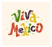 Wektorowa płaska ręka rysująca ilustracja z płaskim Viva Meksyk literowaniem odizolowywającym na białym tle Fotografia Stock