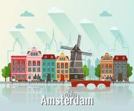 Wektorowa płaska ilustracja Amsterdam royalty ilustracja