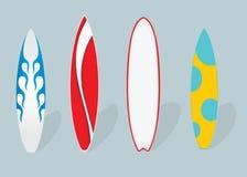 Wektorowa płaska ilustracja Set Surfboards Obrazy Stock