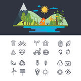 Wektorowa płaska projekt ilustracja ekologia krajobraz Infographic element Eco ikony set Zdjęcie Stock
