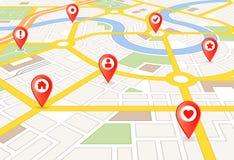 Wektorowa Perspektywiczna miasto mapa z markierami Zdjęcia Stock