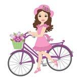 Wektorowa Piękna dziewczyna z bicyklem ilustracja wektor