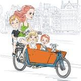 Wektorowa piękna dziewczyna niesie dziecka na rowerze w Amsterdam Zdjęcie Royalty Free