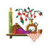 Wektorowa piksel sztuka Półka w kuchni ilustracja wektor