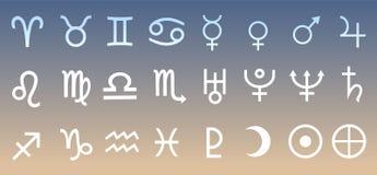 Wektorowa planeta Astrologiczna, Astronomiczni symbole Ustawiająca ilustracja Obraz Royalty Free