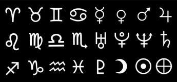 Wektorowa planeta Astrologiczna, Astronomiczni symbole Ustawiająca ilustracja Fotografia Stock