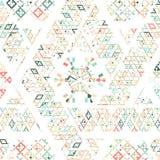 Wektorowa Plemienna Meksykańska etniczna tekstura, wzór z lampasami, geometrical trójboki Rocznik sztuki druku ornamentu tło royalty ilustracja