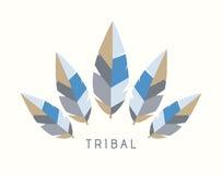 Wektorowa Plemienna piórko loga ilustracja - zima Obrazy Royalty Free