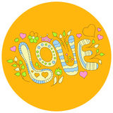 Wektorowa pociągany ręcznie słowo miłość na żółtym tle również zwrócić corel ilustracji wektora Obraz Stock