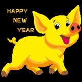 Wektorowa pocztówka, gratulacje na nowym roku 2019 z żółtą earthen świnią Tekst napisze w dekoracyjnej chrzcielnicie w f royalty ilustracja