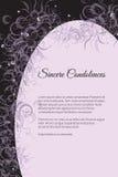 Wektorowa pogrzeb karta z eleganckim abstrakcjonistycznym kwiecistym motywem obraz stock