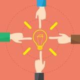 Wektorowa pojęcie biznesmena ręka i żarówki światła pomysł ilustracja wektor