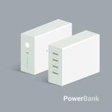 Wektorowa powerbank ikona na białym tle Isometric widok Mieszkanie stylu projekt Ładuje przyrząd ilustracja wektor