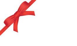 Wektorowa prezent karta z czerwoną faborku i kopii przestrzenią Fotografia Royalty Free