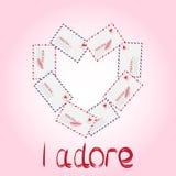 Wektorowa prosta koperta z valentine kartą inside ilustracja ilustracji