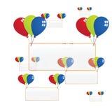 Wektorowa przejrzysta pusta deska z kolorów balonami Obrazy Stock