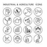 Wektorowa przemysłowa & rolnictwo ikona ustawia odosobnionego na białym tle Royalty Ilustracja
