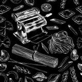 Wektorowa ręka rysująca makaron ilustracja zdjęcia royalty free