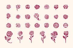 Wektorowa ręka rysująca różanego symbolu nakreślenia prosta ilustracja na lekkim tle ilustracji