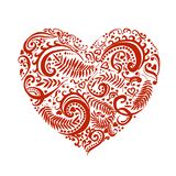 Wektorowa ręka rysujący nakreślenie serce z ornamentami ilustracyjnymi na białym tle ilustracja wektor