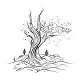Wektorowa ręka kreślił ilustrację opustoszały krajobraz z nieżywym drzewem ilustracji
