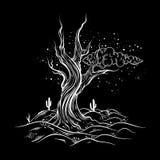 Wektorowa ręka kreślił ilustrację opustoszały krajobraz z nieżywym drzewem royalty ilustracja
