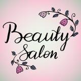 Wektorowa ręka pisać decals, etykietce, odznace lub emblemacie loga piękna salonu, Ozdabiający z malować roślinami i kwiatami któ Fotografia Stock
