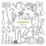 Wektorowa ręka rysować ilustracje ogrodnictwo Różni doodle elementy ustawiający dla ogrodowej pracy ilustracji