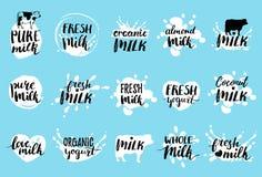 Wektorowa ręka rysować mleko etykietki Znaki ustawiający dla nabiału produkt spożywczy Oznacza kolekcję dla produktów pakuje, rek ilustracja wektor