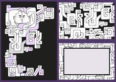 Wektorowa ręka rysować profilowe sylwetki mężczyzna i kobieta ilustracji