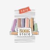 Wektorowa ręka rysująca ilustracja dla bookstore sprzedaży Obrazy Royalty Free