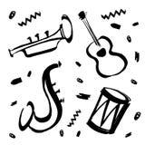 Wektorowa ręka rysująca ilustracja dla międzynarodowego jazzowego dnia z muzycznymi instrumentami Saksofon, gitara, bęben i trąbk ilustracja wektor