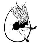 Wektorowa ręka rysująca ilustracja kobiet nogi i ogromny jajko ilustracja wektor