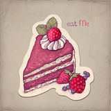 Ilustracja tort z truskawką Fotografia Royalty Free