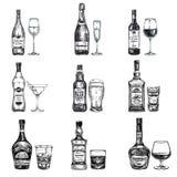 Wektorowa ręka rysująca ilustracja z alkoholiczką Zdjęcie Stock