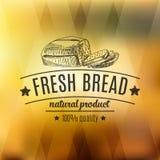 Wektorowa ręka rysująca ilustracja z chlebową etykietką royalty ilustracja