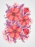 Wektorowa ręka rysująca ilustracja z kwiatami na textured akwareli tle Zdjęcie Royalty Free