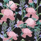Wektorowa ręka rysująca nakreślenie ilustracja różowa peonia i fiołek kwitnie bezszwowego wzór royalty ilustracja