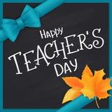 Wektorowa ręka rysująca nauczyciela dnia literowania powitań etykietka z realistycznymi liśćmi i jedwabniczym faborkiem - szczęśl ilustracja wektor