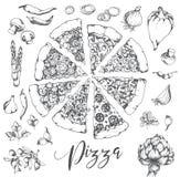 Wektorowa ręka rysująca pizzy ilustracja Zdjęcie Stock