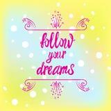 WEKTOROWA ręka rysująca rama na kolorowym plamy tle: podąża twój serce Zdjęcie Stock