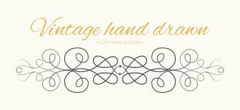 Wektorowa ręka rysująca rozkwita, teksta divider, graficznego projekta eleme Zdjęcia Royalty Free