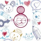 Wektorowa ręka rysująca sztuki ilustracja osobowość, emocje Fotografia Royalty Free