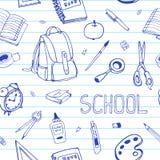 Wektorowa ręka rysująca z powrotem szkoła bezszwowy wzór Szkolnego wyposażenia doodles na rządzącym papierze Ilustracji