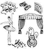 Wektorowa ręka rysujący atramentu teatru set royalty ilustracja