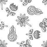 Wektorowa ręka rysujący bezszwowy wzór, dekoracyjni stylizowani czarny i biały dziecięcy kwiaty Doodle nakreślenia styl, graficzn Obrazy Royalty Free